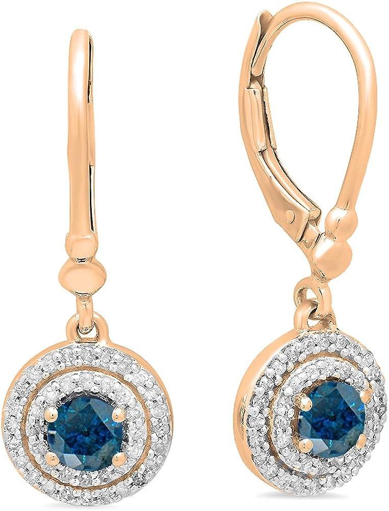 10K rosa oro 4mm cada redondo Gemstone y blanco Diamond Ladies doble Halo pendientes de gota colgando