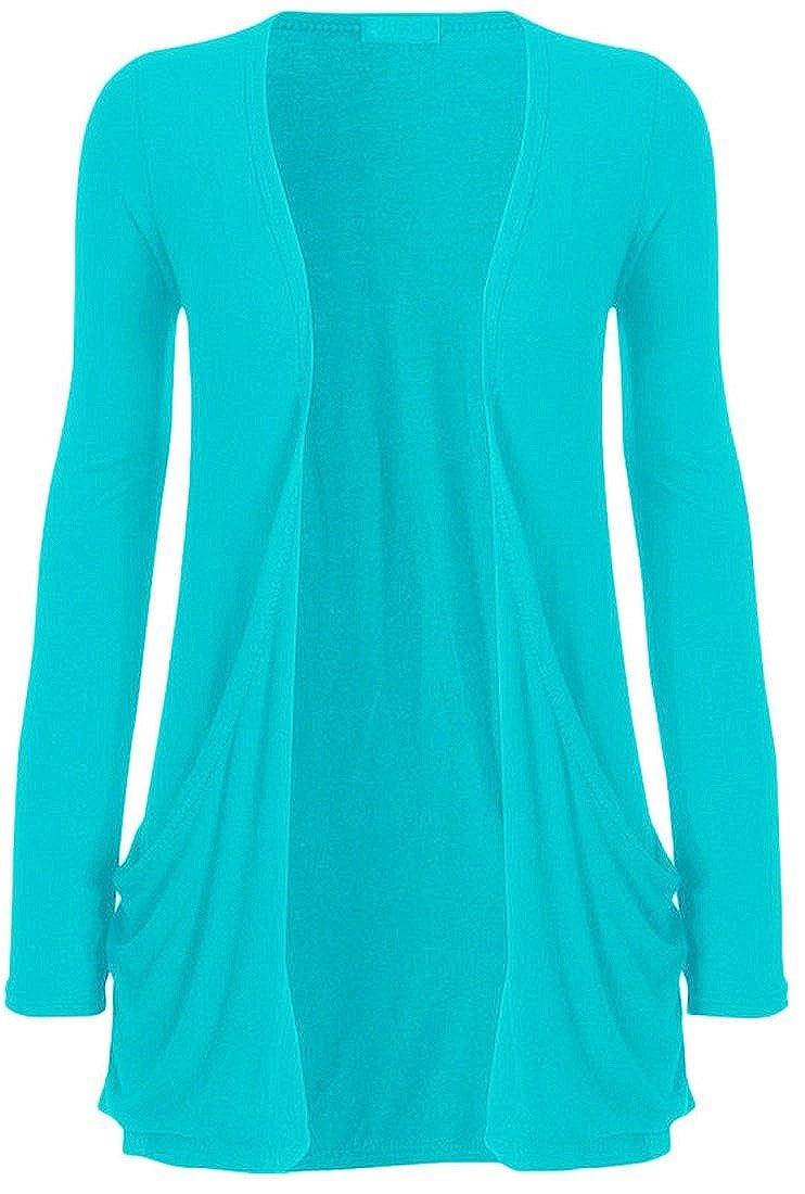 f9b105028b Crazy Girls Ladies Long Sleeve Plain Printed Pocket Boyfriend Cardigan  Womens Top Sizes 8-26  Amazon.co.uk  Clothing