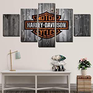 Canvas Painting Wall Art Picture 5 Panel Harley Davidson Style Poster Modern Home Decoration Print Painting,A(unframed),XL