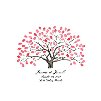 Amazon.com: New Style Personalised Fingerprint Tree Painting Canvas ...