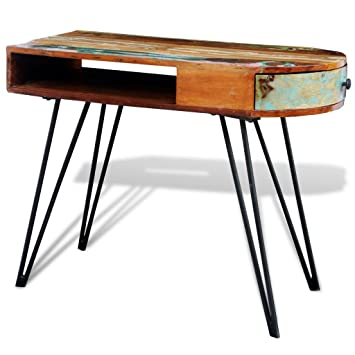 Schreibtisch Beine Holz.Anself Schreibtisch Arbeitstisch Aus Recyceltem Massivholz Mit Schublade 97cmx45cmx76cm