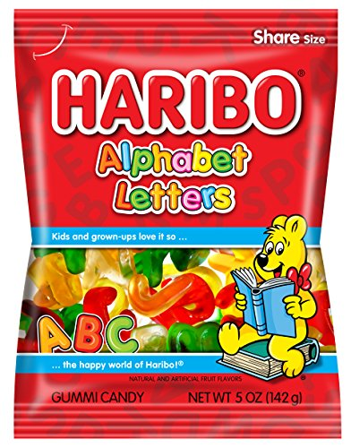 Haribo Gummi Candy, Alphabet Letters, 5 oz. Bag (Pack of 12) ()