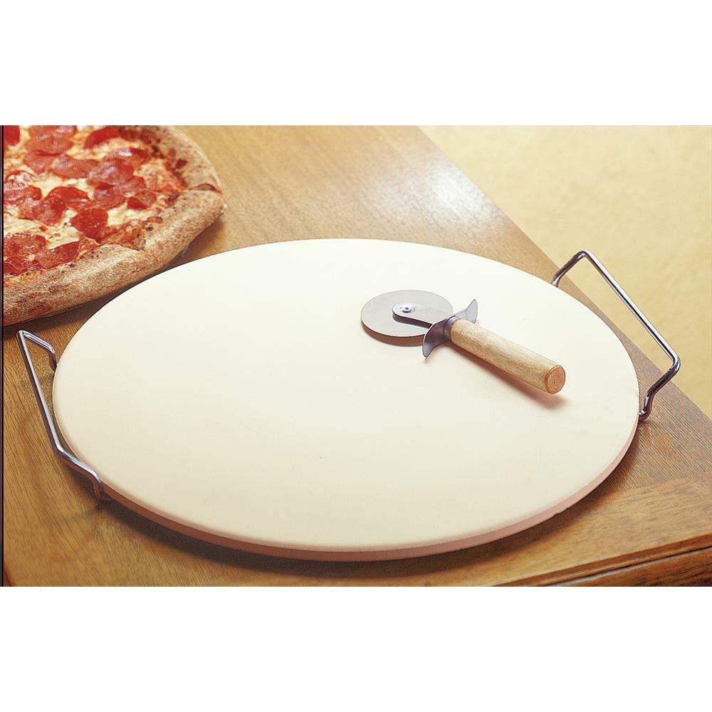 "Richestwealthy 15"" round Pizza baking cooking ceramic Stone Bread Pan handles rack Wheel gift"