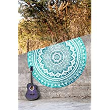 "Handicrunch Blue Star Hippie Mandala Tapestry Round Roundie Wall Hanging Beach Towel Throw Yoga Mat Round Tapestry 70"""