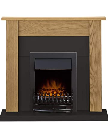 Adam Southwold Fireplace Suite in Oak and Black with Blenheim Electric Fire in Black, 43 Inches