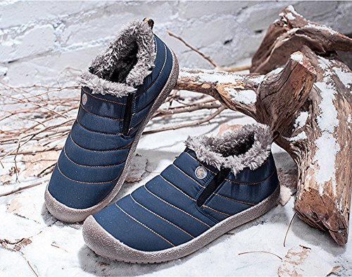 Low top Women's Winter Blue Boots Warm Lined Snow Fur Sneakers YIRUIYA TnqO71f