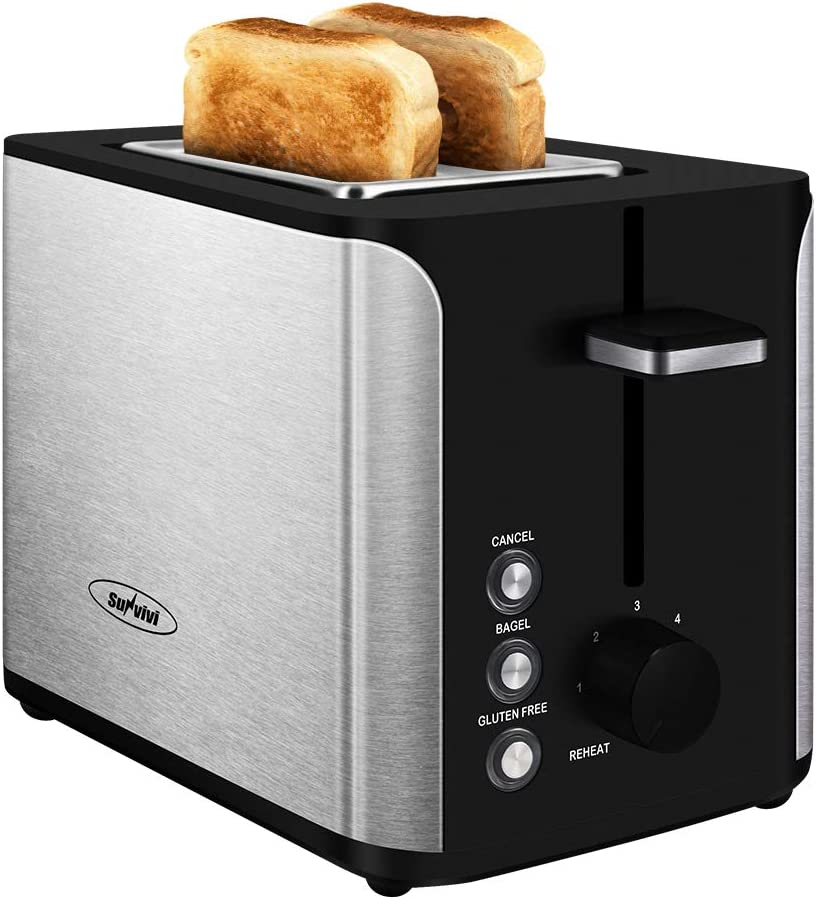 Toaster 2 Slice, Stainless Steel Bread Toaster, Extra Wide Slot Toaster with Bagel Gluten-Free Cancel Function 6-Shade Setting, Black