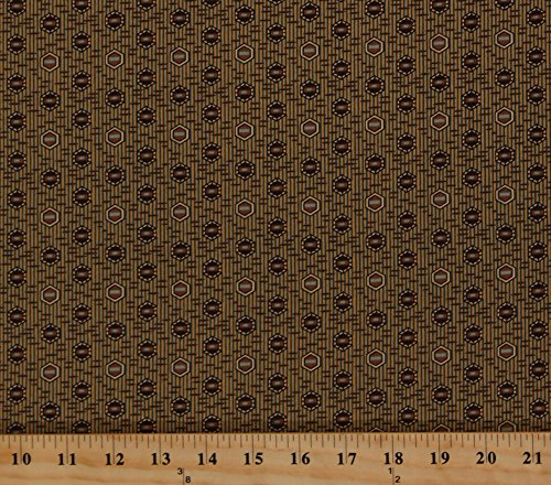 Cotton Jo Morton Sweet Emilie Hexagons on Lengthwise Pin Stripe Brown Blue Civil War Reproduction Cotton Fabric Print by the Yard (5324)