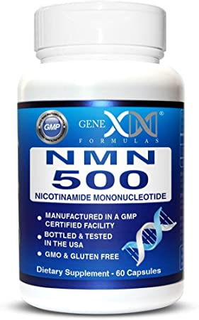 NMN Stabilized Form 500mg Serving Nicotinamide Mononucleotide Direct NAD Supplement(2X 250mg Capsules 60ct).