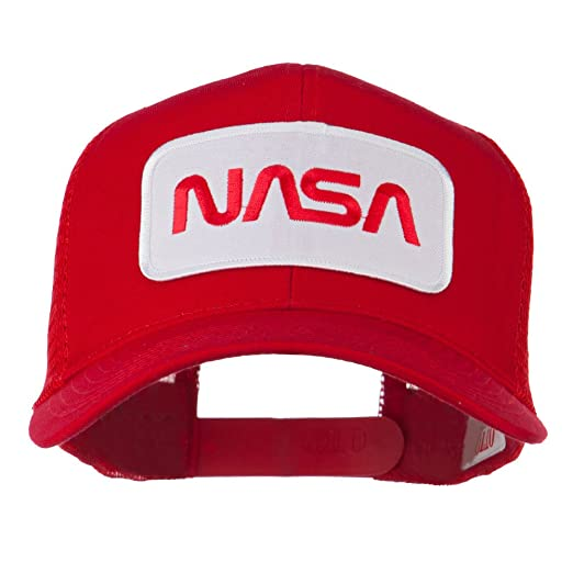 NASA Logo Embroidered Patched Mesh Back Cap - Red OSFM at Amazon ... 29425dcaf110