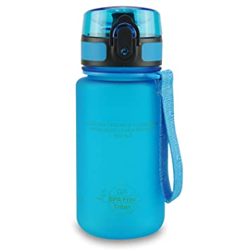 SMARDY Tritan Botella de Agua para Beber Azul - 350ml - de plástico sin BPA - Tapa de un Clic - fácil de Abrir - ecológica - Reutilizable: Amazon.es: Jardín