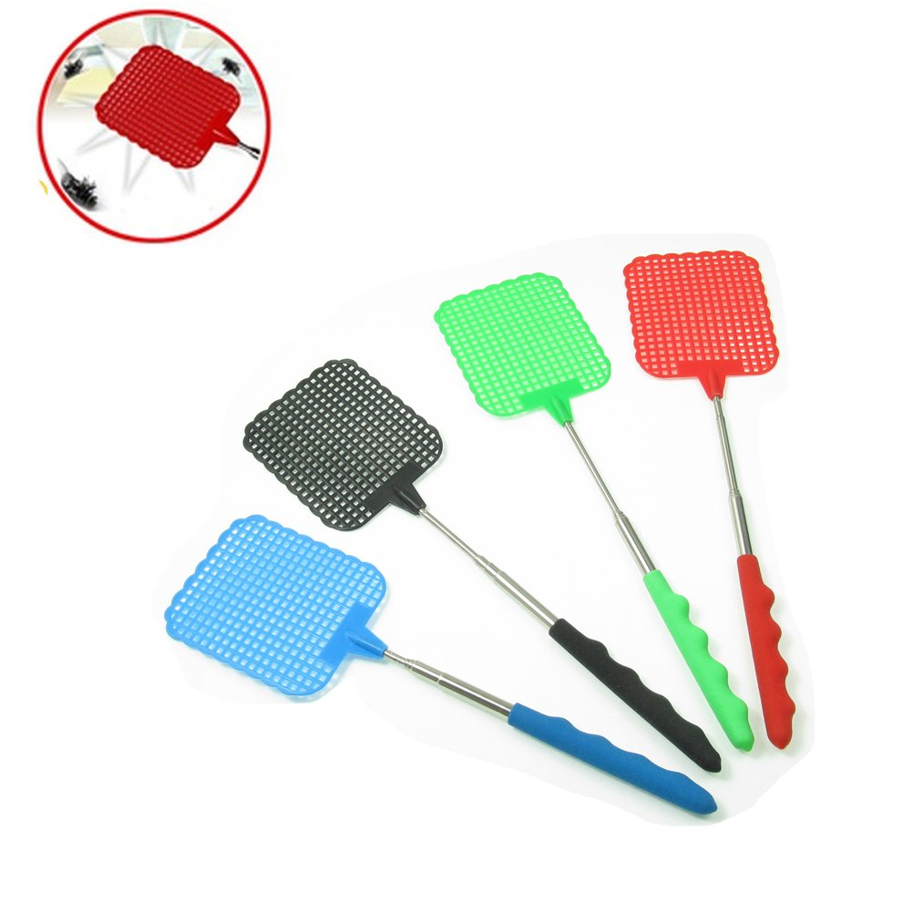 CoscosX 7 Pcs Retractable Fly Swatter With Telescopic Wire Handles,Extendable Flapper Fly Prevent Rod Indoor and Outdoor Pest Mosquito Control Tool,Manual Durable Swat Control,Assorted Colors