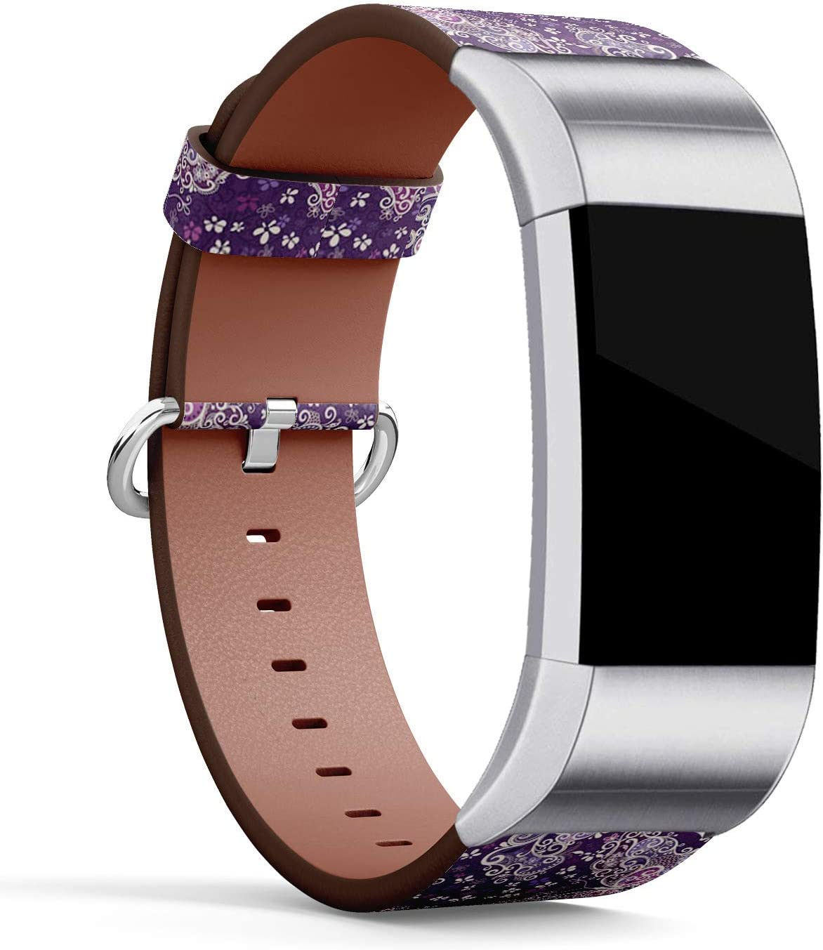 Replacement Accessory Leather Band Strap Bracelet Wristbands with Adapters Motley Big Butterflies Compatible with Fitbit Charge 2