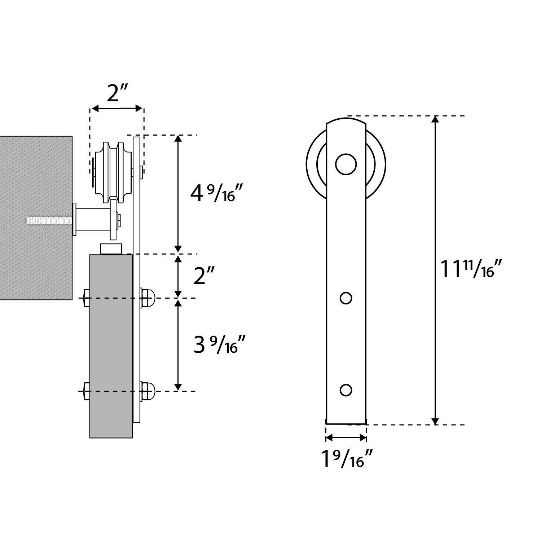 6.6 FT Heavy Duty Sturdy Sliding Barn Door Hardware Kit, 6.6ft Double Rail, Black, (Whole Set Includes 1x Pull Handle Set & 1x Floor Guide & 1x Latch Lock) Fit 36''-40'' Wide Door Panel (I Shape Hanger) by SMARTSTANDARD (Image #6)