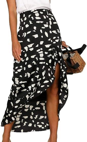 Falda Larga de Cintura Alta para Mujer con diseño de Lunares ...