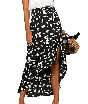 Falda Larga de Cintura Alta para Mujer con diseño de Lunares, Capa ...