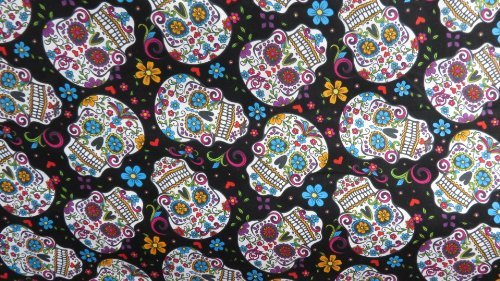 Folkloric Skulls Black Cotton 45 Inch Fabric By the Yard From the Fabric Exchange ®