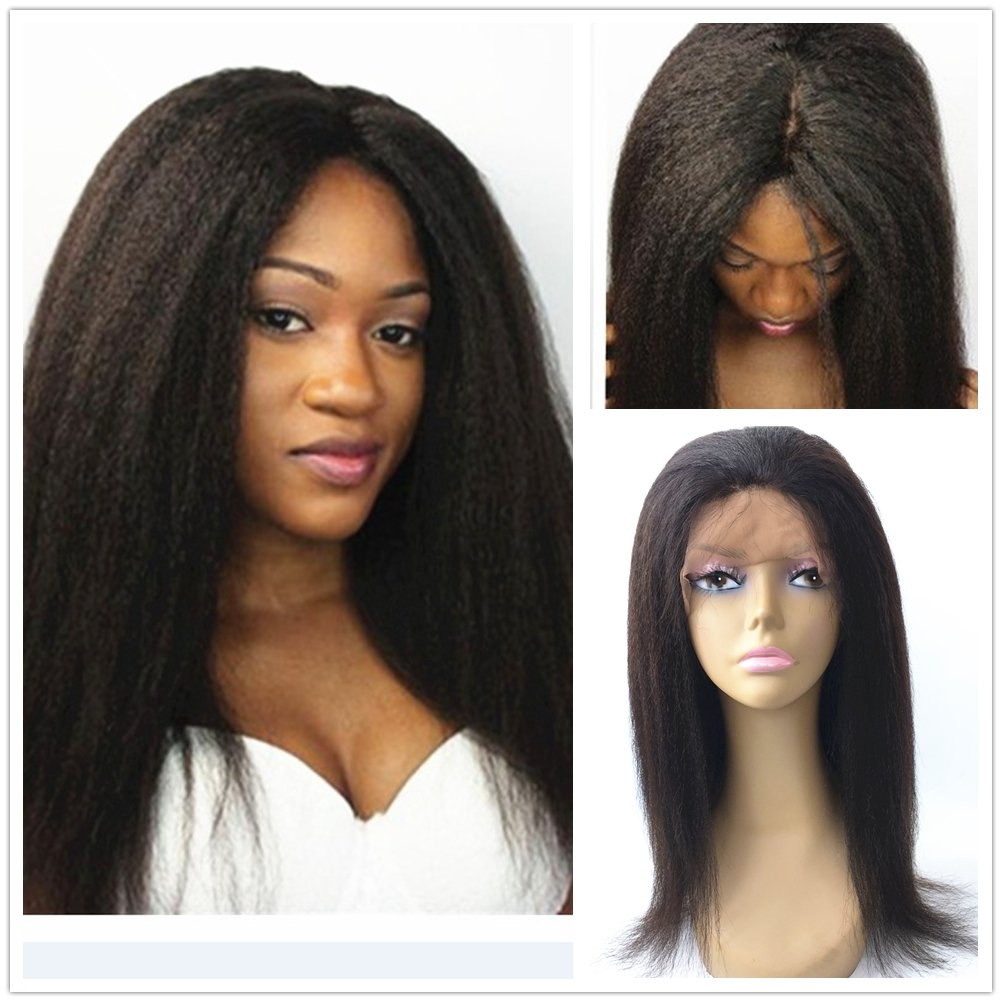 JYL Hair Italian Yaki 360 Silk Top Lace Frontal Wig Pre Plucked Bleached Knots 150% Density Human Hair Wigs For Women 360 Silk Base Wigs with Baby Hair (12'' silk top)