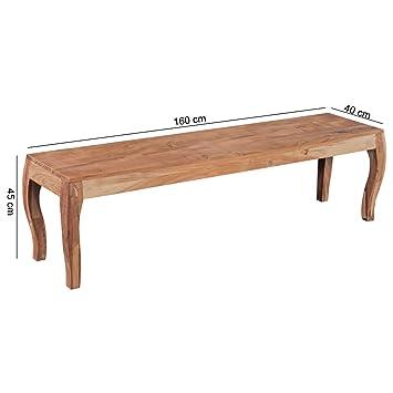 FineBuy Esszimmerbank Holz Akazie Massiv 160 Cm Ohne Lehne | Sitzbank  Esszimmer Barock Style | Küchenbank