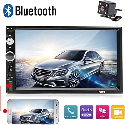"""Double DIN Car Stereo MP5 AM Player 7/"""" Mirror Link Bluetooth Free Backup Camera"""