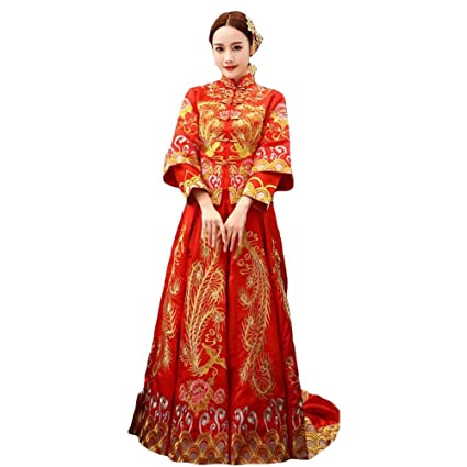QIXPAO Xiu Wo Novia Chino Vestido de Novia de dragón y Rosa Abrigo Rojo, l