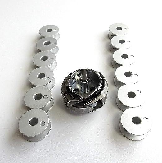 Estuche de gancho y bobina y 10 bobinas para Singer 211G146 211G165 211G 212W140 Juki Lh-512 515 máquina de coser de 2 agujas: Amazon.es: Hogar