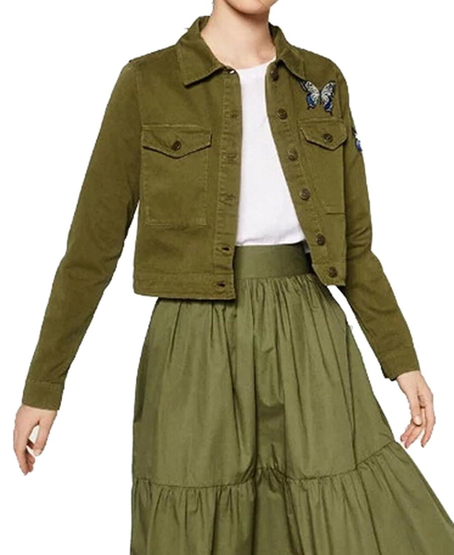 KXP Womens Vouge Patched Pockets Solid Button-down Short Coats