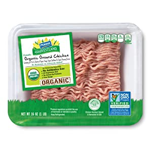 Perdue Harvestland Organic Ground Chicken, Free Range, Non-GMO, All Natural, Fresh, 16 oz.