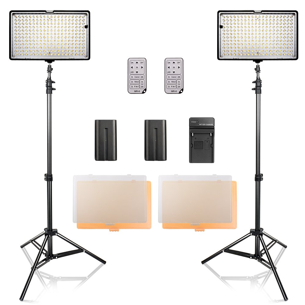 SAMTIAN LED Video Light Kit with Stand LED Panel Set with Tripod and 240pcs 3200/5600K Beads Including Battery Charger Mini Ball Head and Carry Case for YouTube Studio Photography, Video Shooting by SAMTIAN