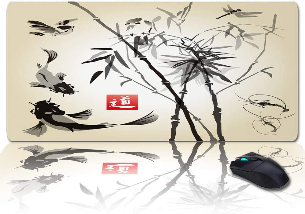 Large Gaming Mouse Pad Desk Mat Upright Bamboo Koi Lobster Ink Painting Multipurpose Laptop Writing Pad Non-Slip Keyboard Pad for Office Home