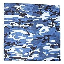 New Camoflauge Woodland Style Color Cotton Bandanas , Blue Camo