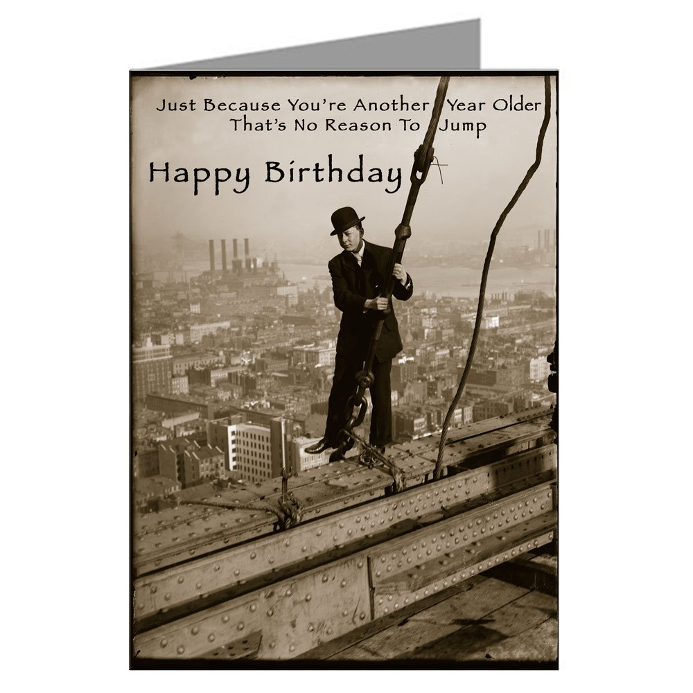 Amazon Single Large Vintage Birthday Card Of Man On A Ledge Greeting Cards Office Products
