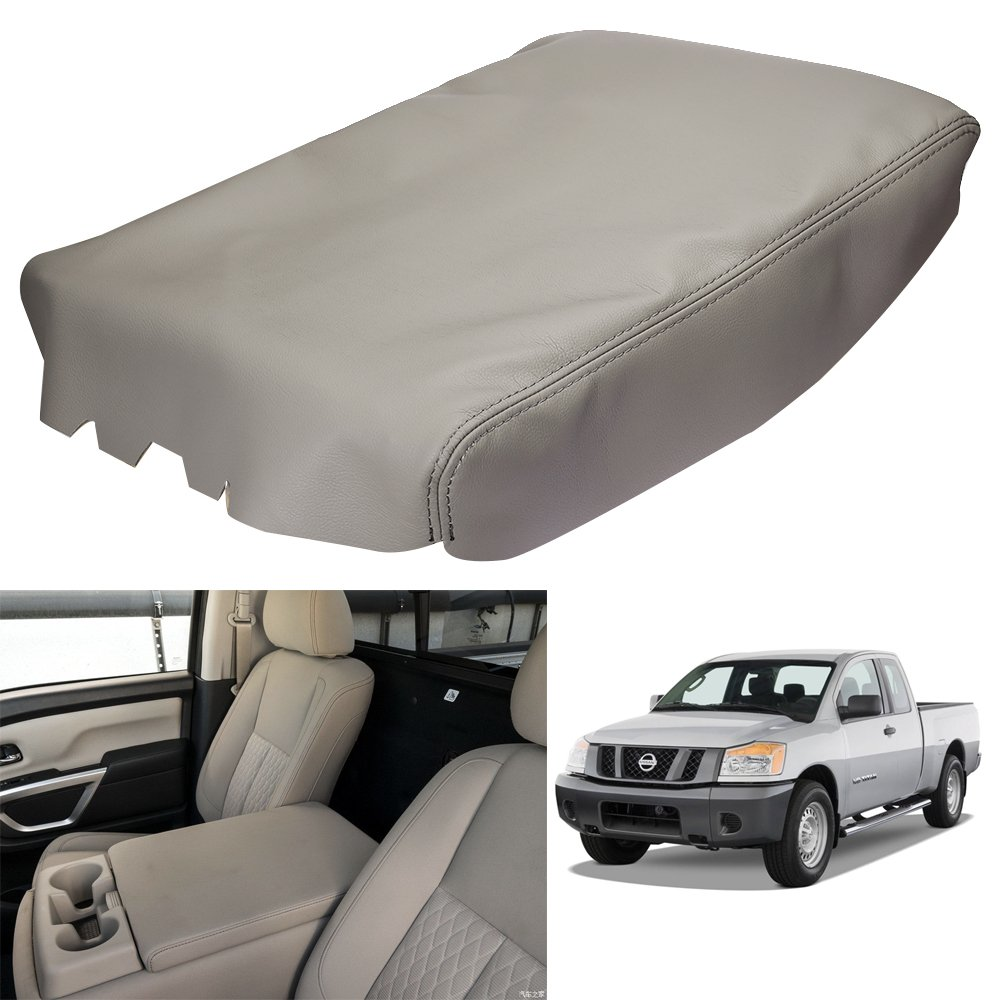 QKPARTS Gray Leather Center Console Lid Armrest Cover Fits 2004-2014 Nissan Titan