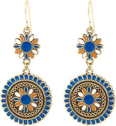 Vintage Colourful Drop Flower Tassel Earrings Hook Women Ethnic Bohemian Earring