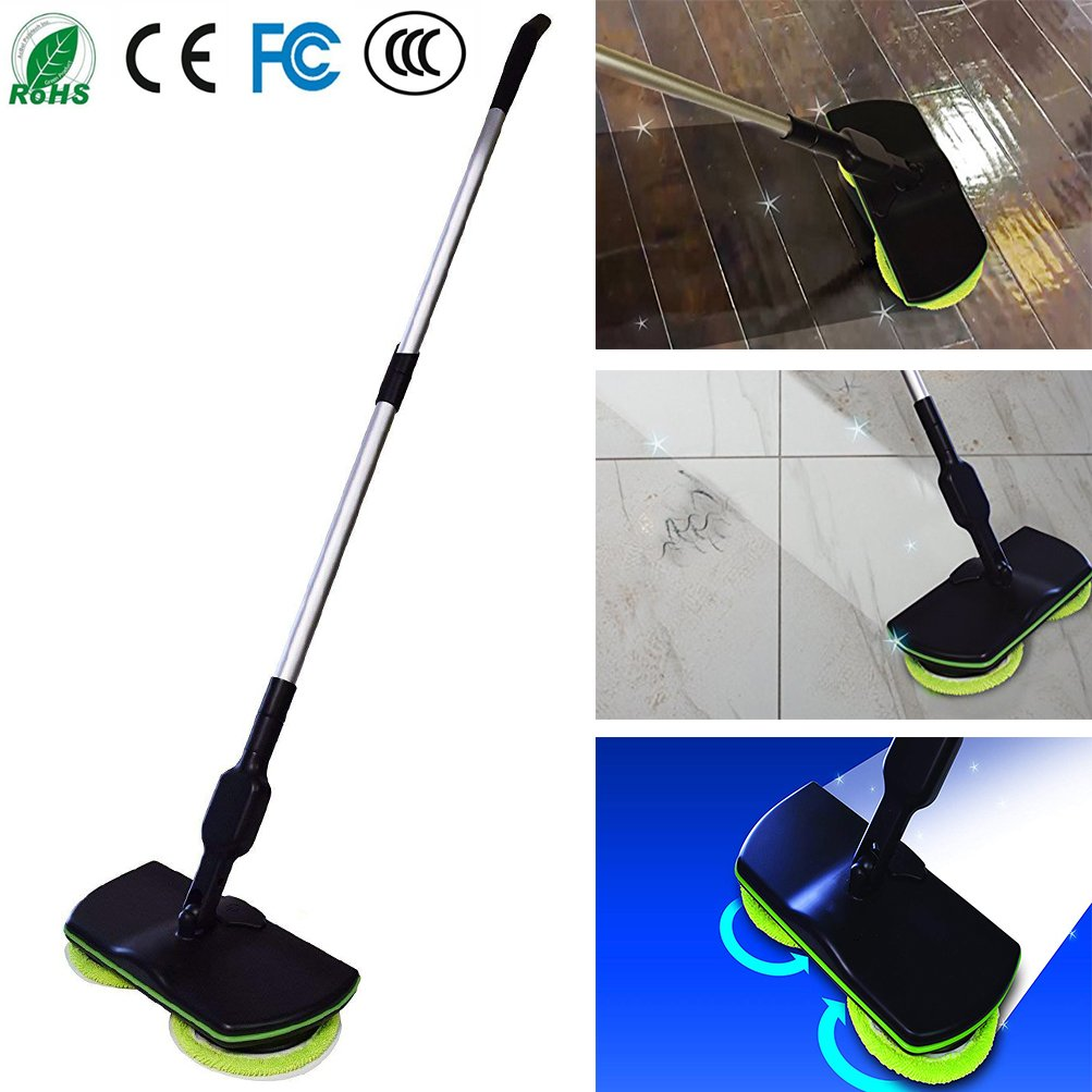 2018 Cordless Electric Spinning Mop - Rechargeable, Cordless, Powered Floor Cleaner Scrubber Polisher Mop Treeshu