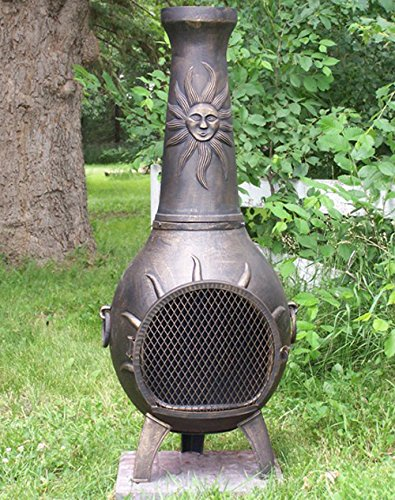 The Blue Rooster Co. Sun Stack Style Cast Aluminum Wood Burning Chiminea in Gold Accent. by The Blue Rooster