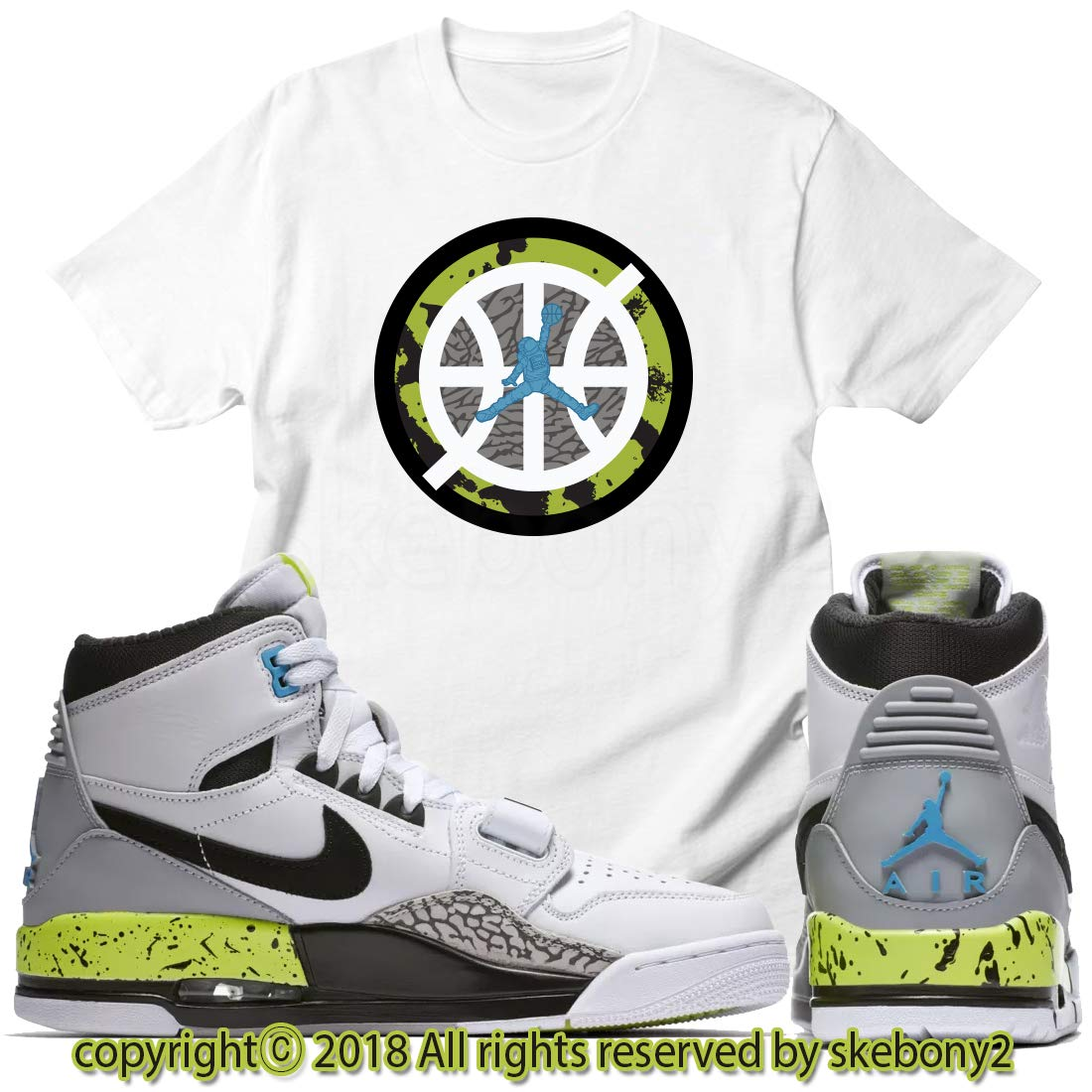 5b3aafea6a7cd Custom T Shirt Matching AIR Jordan Legacy 312 White/Volt JDL 1-2-1 ...