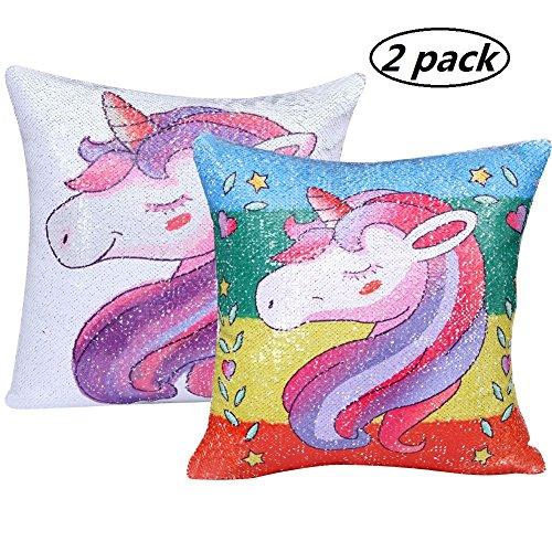 "Onshine Rainbow Unicorn Throw Pillow Cover 2Pcs Reversible Magic Sequins Decor Cotton Linen Mermaid Unicorn Printed Pillowcase 16""x16"" Cushion Covers"