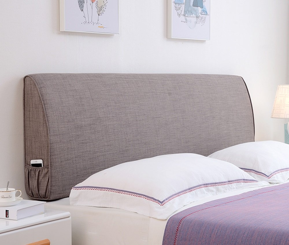 Cushions Bedside linen pillowcase wall soft bag pillow double bed long backrest 5 size - suitable for bed without headboard (Color : Dark gray, Size : 1201055cm)