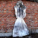 Halloween Props Scary Decorations Life Size Hanging Ghost Skeleton for Home Yard Outdoor Indoor Party Décor (White, 70inch)