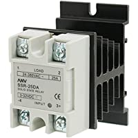 uxcell Solid State Relay with Heat Sink, SSR-25DA 25A 3-32VDC to 24-380VAC, DC-AC Relay