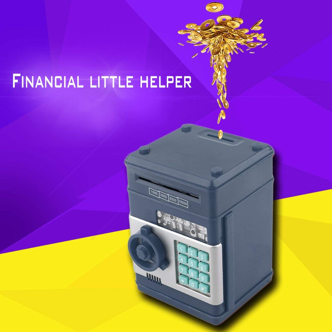 7colors Ni/ños dinero caja de seguridad electr/ónica guardar contrase/ña cajeros autom/áticos del Banco de monedas y billetes sistema de c/ódigo de clave de caja de la caja de ahorro de dinero