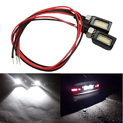 1-Set (2-Pcs) White 2835 3SMDs 10-15VDC,AMAZENAR Car Auto Motorcycle Waterproof Tail Number License Plate Screw Bolt LED Light Bulb Replace Back Safety Rear Lamp (Black Body): Automotive