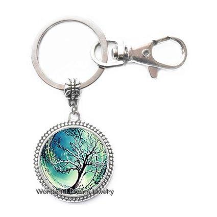 Llavero de árbol de vidrio, árbol de la vida, joyería de ...