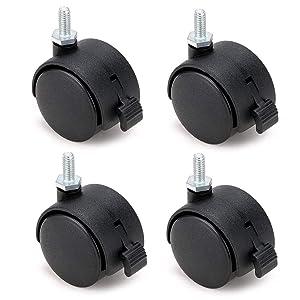"""Skelang 4 Pcs 1.5"""" Nylon Plastic Swivel Stem Casters Wheel with Brakes, Stem Diameter 1/4"""" for Office Chair, Game Chair, Kitchen Shelf"""