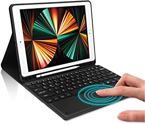 iPad Keyboard Case 9.7 inch Touchpad Bluetooth with Pencil Holder Compatible with iPad 2018 6th Gen,iPad Pro 2017 5th Gen, iPad Pro 9.7, iPad Air 2&1, iPad Air Case with Touchpad Keyboard