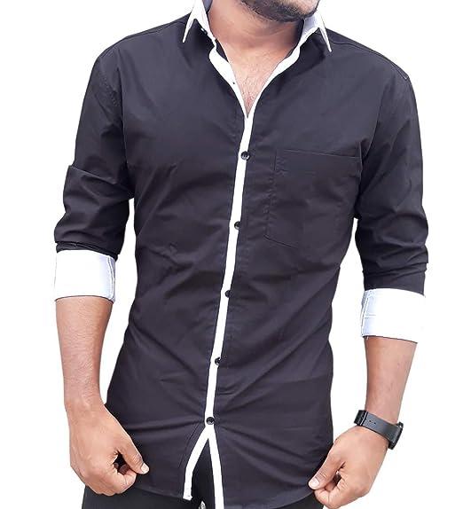 507fb38b6 S.N. SMART & NEW Men's Cotton Full Sleeves Slim Fit Shirt (Black, 44 ...