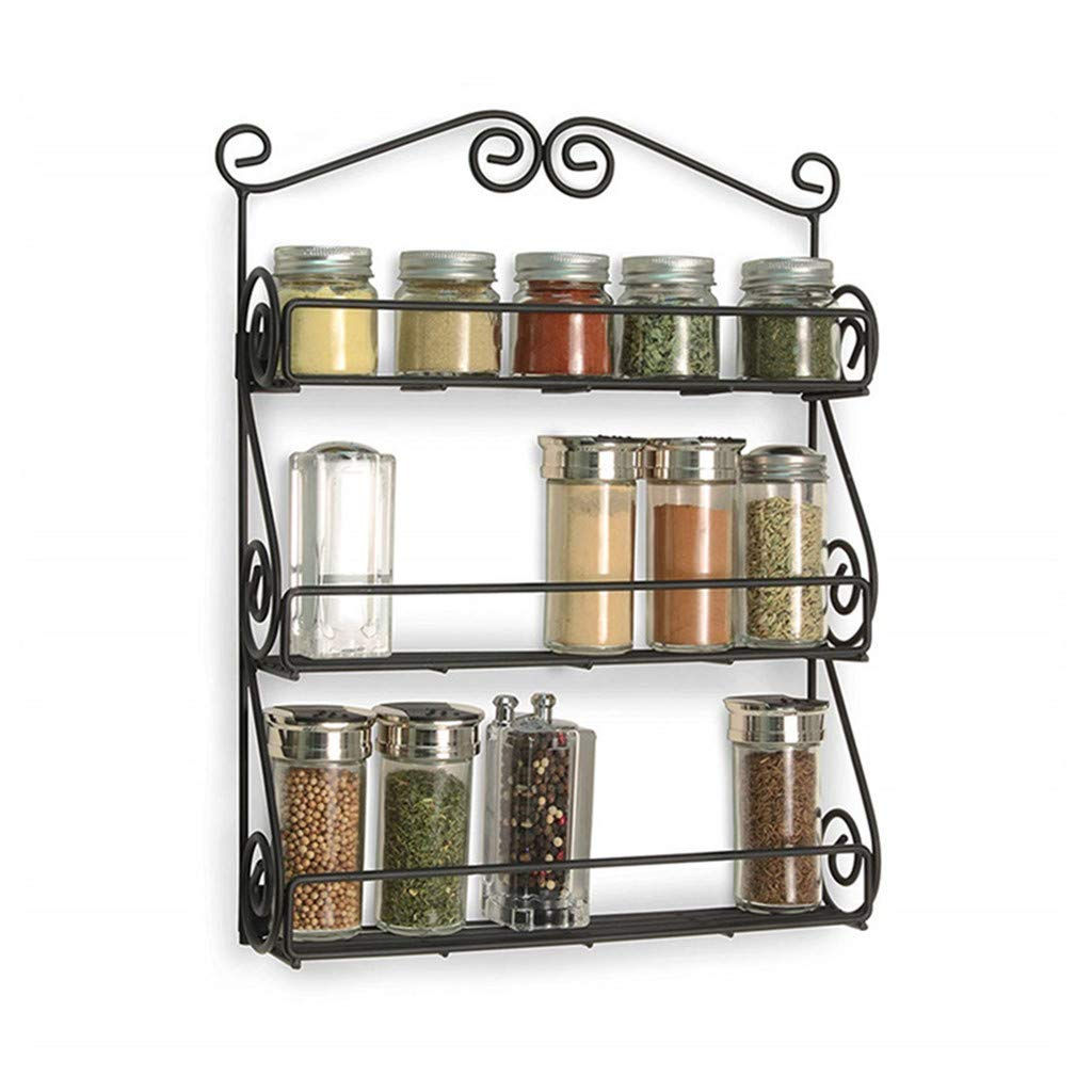 C-Easy 3-Tier Wall Mounted Spice Shelf Metal Spice Rack Organizer, Pantry Cabinet Door Spice Shelf Storage Cabinet, Kitchen Seasoning Rack, Spice Jars Bottle Holder, Black, 11.8x3.2x15.7 in by C-Easy