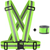 Reflective Vest with LED Armband / Wristband Set - stay safe Cycling, Jogging, Walking. Adjustable reflector