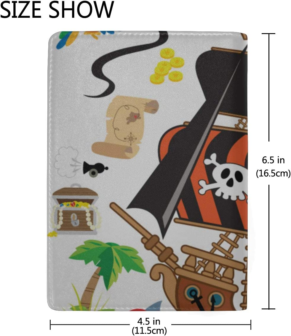 Cute Pirate And Shark In The Sea Blocking Print Passport Holder Cover Case Travel Luggage Passport Wallet Card Holder Made With Leather For Men Women Kids Family